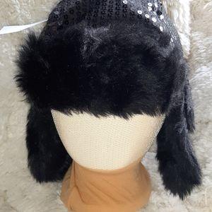 Black sequined bomber/trapper hat